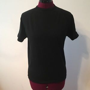 Tops - Vintage black high neck short sleeve top XS